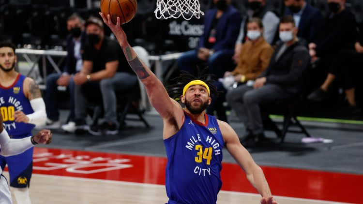 May 14, 2021; Detroit, Michigan, USA; Denver Nuggets center JaVale McGee (34) shoots in the second half against the Detroit Pistons at Little Caesars Arena. Mandatory Credit: Rick Osentoski-USA TODAY Sports