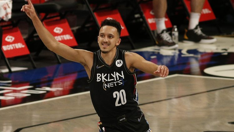 May 15, 2021; Brooklyn, New York, USA; Brooklyn Nets guard Landry Shamet (20) reacts after hitting a three point basket against the Chicago Bulls during the first half at Barclays Center. Mandatory Credit: Andy Marlin-USA TODAY Sports