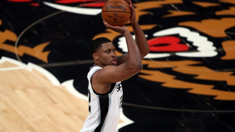 May 19, 2021; Memphis, Tennessee, USA; San Antonio Spurs forward Rudy Gay (22) shoots a three-point basket during the first quarter against the Memphis Grizzlies at FedExForum. Mandatory Credit: Petre Thomas-USA TODAY Sports