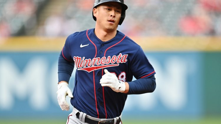 May 21, 2021; Cleveland, Ohio, USA; Minnesota Twins center fielder Rob Refsnyder (38) rounds the bases after hitting a home run during the third inning against the Cleveland Indians at Progressive Field. Mandatory Credit: Ken Blaze-USA TODAY Sports