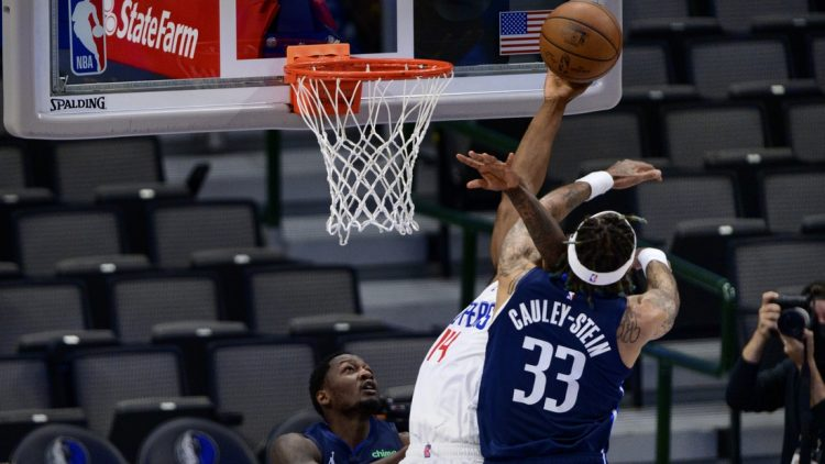 May 28, 2021; Dallas, Texas, USA; Dallas Mavericks center Willie Cauley-Stein (33) is called for a flagrant foul on LA Clippers guard Terance Mann (14) during the first quarter in game three in the first round of the 2021 NBA Playoffs at American Airlines Center. Mandatory Credit: Jerome Miron-USA TODAY Sports