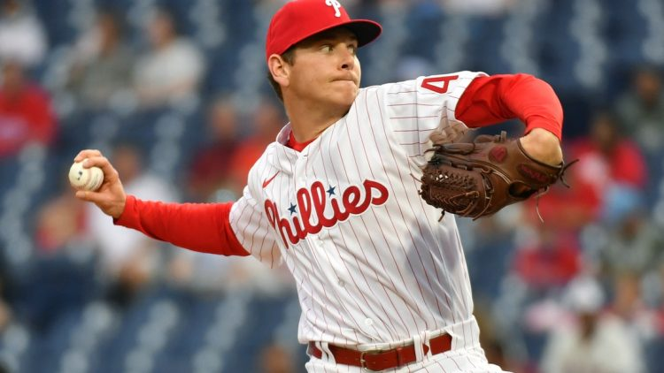 May 22, 2021; Philadelphia, Pennsylvania, USA; Philadelphia Phillies starting pitcher Spencer Howard (48) throws a pitch against the Boston Red Sox at Citizens Bank Park. Mandatory Credit: Eric Hartline-USA TODAY Sports