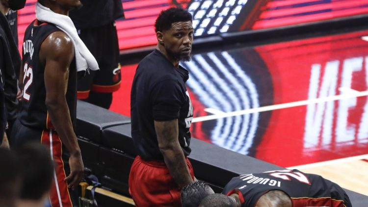 May 29, 2021; Miami, Florida, USA; Miami Heat forward Udonis Haslem (40) looks on from the bench after a loss to the Milwaukee Bucks in game four during the first round of the 2021 NBA Playoffs. at American Airlines Arena. Mandatory Credit: Sam Navarro-USA TODAY Sports
