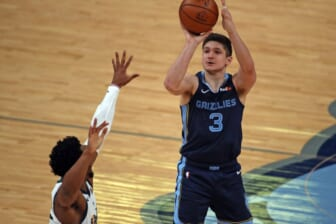 May 31, 2021; Memphis, Tennessee, USA; Memphis Grizzlies guard Grayson Allen (3) shoots for three during the second quarter during game four in the first round of the 2021 NBA Playoffs against the Utah Jazz at FedExForum. Mandatory Credit: Petre Thomas-USA TODAY Sports