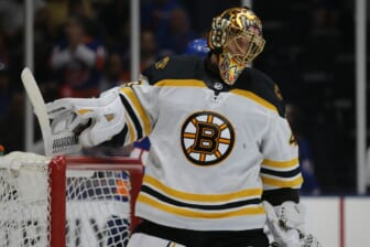 Jun 9, 2021; Uniondale, New York, USA; Boston Bruins goalie Tuukka Rask (40) reacts after a goal by the New York Islanders during the second period of game six of the second round of the 2021 Stanley Cup Playoffs at Nassau Veterans Memorial Coliseum. Mandatory Credit: Brad Penner-USA TODAY Sports