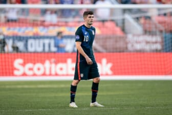 Jun 3, 2021; Denver, Colorado, USA; United States forward Christian Pulisic (10) in the second half against Honduras during the semifinals of the 2021 CONCACAF Nations League soccer series at Empower Field at Mile High. Mandatory Credit: Isaiah J. Downing-USA TODAY Sports