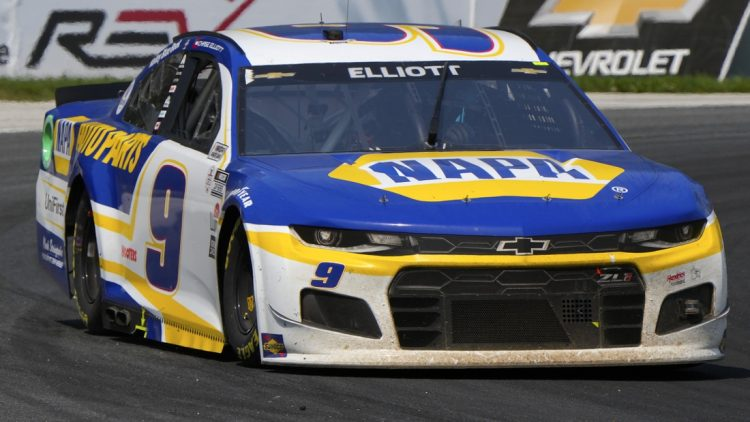 Jul 4, 2021; Elkhart Lake, Wisconsin, USA; NASCAR Cup Series driver Chase Elliott (9) during the Jockey Made in America 250 Presented by Kwik Trip at Road America. Elliott won the race. Mandatory Credit: Mike Dinovo-USA TODAY Sports