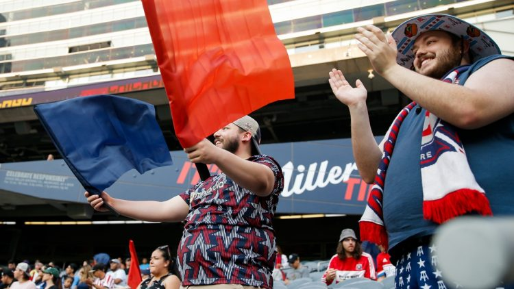 Jul 3, 2021; Chicago, Illinois, USA; Chicago Fire fans cheer before the game between the Chicago Fire and the Atlanta United at Soldier Field. Mandatory Credit: Jon Durr-USA TODAY Sports