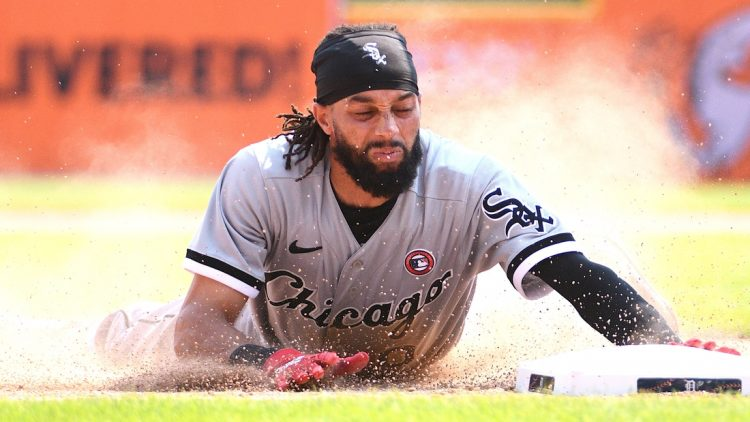 Jul 4, 2021; Detroit, Michigan, USA; Chicago White Sox center fielder Billy Hamilton (0) slides into third base during the ninth inning against the Detroit Tigers at Comerica Park. Mandatory Credit: Tim Fuller-USA TODAY Sports