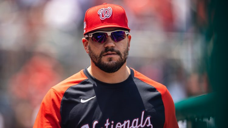 Jul 4, 2021; Washington, District of Columbia, USA; Washington Nationals Kyle Schwarber (12) looks on from the dugout during the game against the Los Angeles Dodgers at Nationals Park. Mandatory Credit: Scott Taetsch-USA TODAY Sports