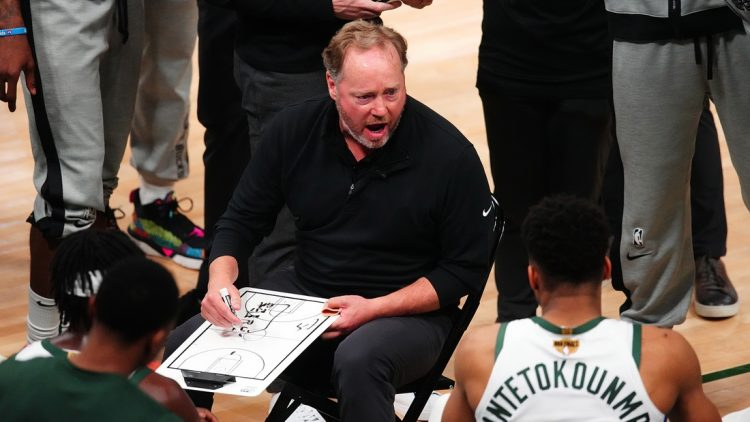 Jul 14, 2021; Milwaukee, Wisconsin, USA; Milwaukee Bucks head coach Mike Budenholzer talks with his team during a time out in the fourth quarter against the Phoenix Suns during game four of the 2021 NBA Finals at Fiserv Forum. Mandatory Credit: Mark J. Rebilas-USA TODAY Sports