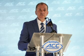 Jul 21, 2021; Charlotte, NC, USA; ACC commissioner Jim Phillips speaks to the media during the ACC Kickoff at The Westin Charlotte. Mandatory Credit: Jim Dedmon-USA TODAY Sports