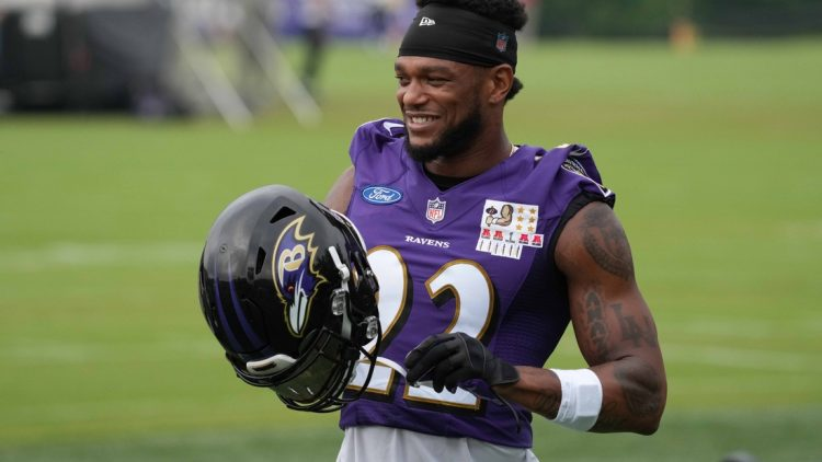Jul 29, 2021; Owings Mills, MD, USA; Baltimore Ravens cornerback Jimmy Smith (22) practices at the Under Amour Performance Center. Mandatory Credit: Mitch Stringer-USA TODAY Sports
