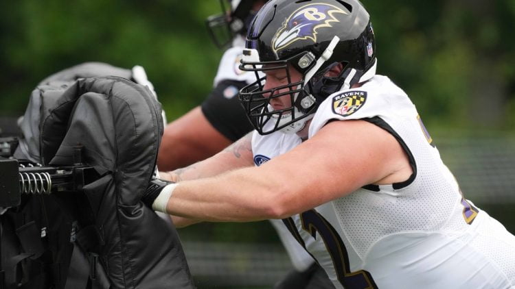 Jul 29, 2021; Owings Mills, MD, USA; Baltimore Ravens center Greg Mancz (72) practices drills at the Under Amour Performance Center. Mandatory Credit: Mitch Stringer-USA TODAY Sports