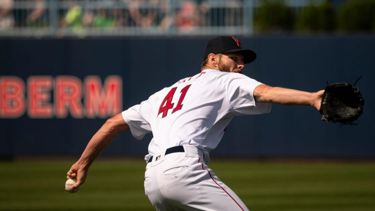 WORCESTER - Red Sox pitcher Chris Sale makes a rehab start during the WooSox game against Buffalo on Saturday, July 31, 2021.  Spt Woosox731 11