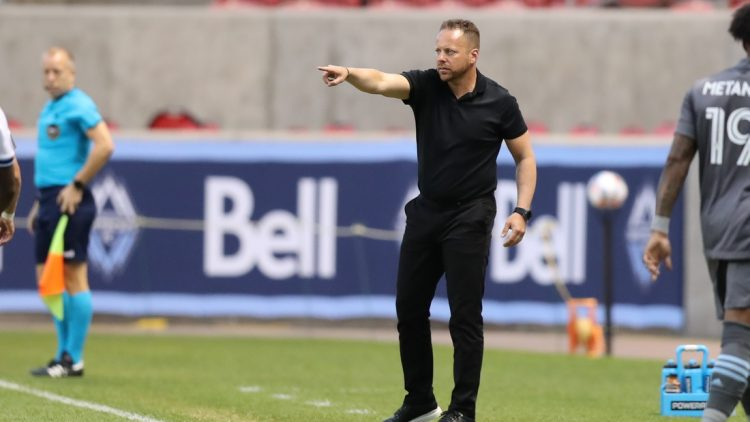 Jul 31, 2021; Sandy, Utah, USA; Vancouver Whitecaps head coach Marc Dos Santos instructs his team from the sideline during the first half against Minnesota United at Rio Tinto Stadium. Mandatory Credit: Rob Gray-USA TODAY Sports