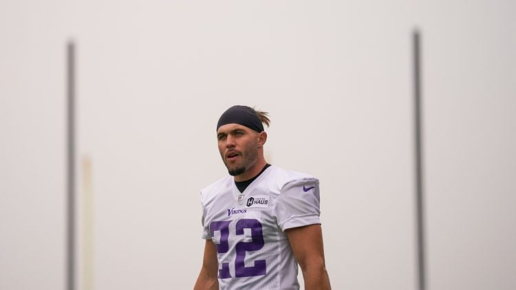 Jul 30, 2021; Eagan, MN, United States; Minnesota Vikings defensive back Harrison Smith (22) takes the field at training camp at TCO Performance Center. Mandatory Credit: Brad Rempel-USA TODAY Sports