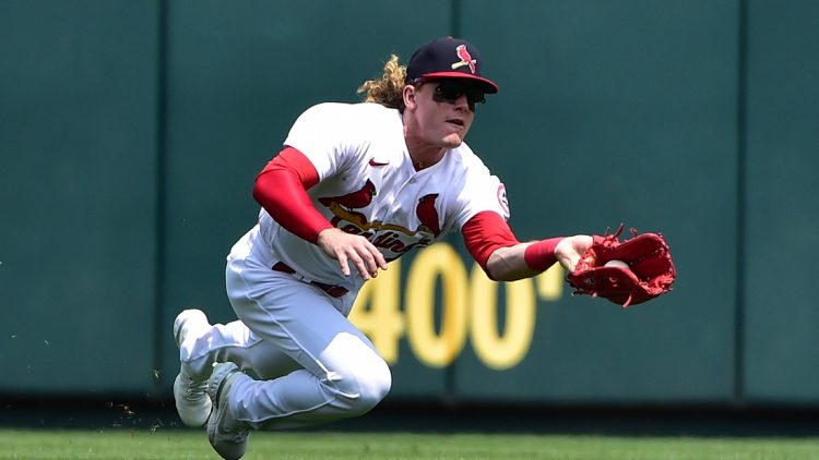 Aug 1, 2021; St. Louis, Missouri, USA;  St. Louis Cardinals center fielder Harrison Bader (48) dives and catches a ball hit by Minnesota Twins third baseman Luis Arraez (not pictured) during the fourth inning at Busch Stadium. Mandatory Credit: Jeff Curry-USA TODAY Sports