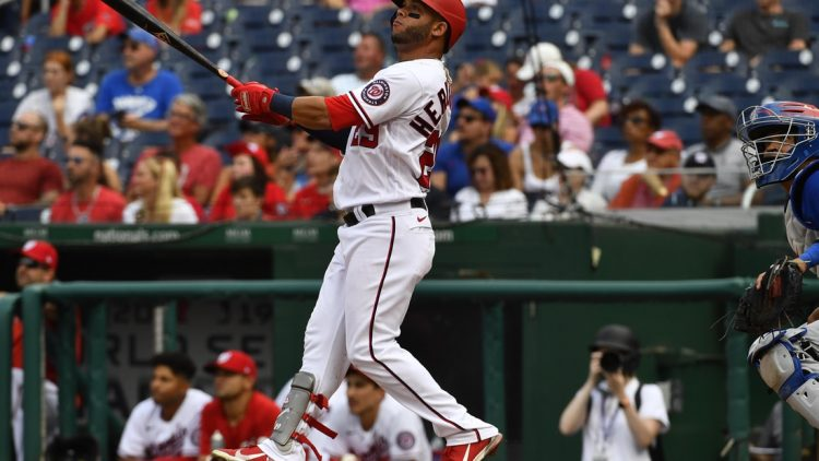 Aug 1, 2021; Washington, District of Columbia, USA; Washington Nationals left fielder Yadiel Hernandez (29) watches his walk off home run against the Chicago Cubs during the ninth inning at Nationals Park. Mandatory Credit: Brad Mills-USA TODAY Sports