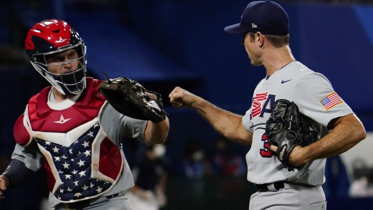 Aug 2, 2021; Yokohama, Japan; Team United States pitcher David Robertson (30) celebrates after getting out of the 8th inning against Japan in a second round baseball game during the Tokyo 2020 Olympic Summer Games at Yokohama Baseball Stadium. Mandatory Credit: Mandi Wright-USA TODAY Sports