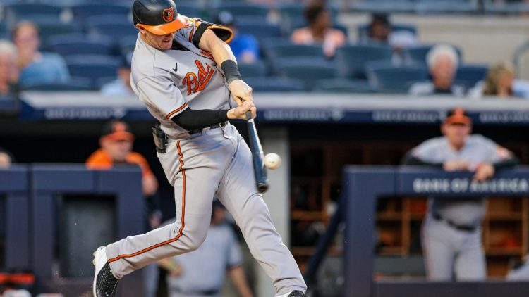 Aug 2, 2021; Bronx, New York, USA; Baltimore Orioles  right fielder Austin Hays (21) hits a home run during the third inning against the New York Yankees at Yankee Stadium. Mandatory Credit: Vincent Carchietta-USA TODAY Sports
