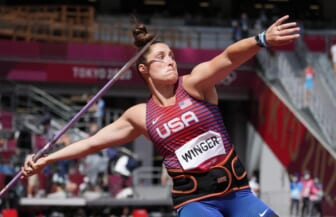 Aug 3, 2021; Tokyo, Japan; Kara Winger (USA) in the women's javelin throw qualification during the Tokyo 2020 Summer Olympic Games at Olympic Stadium. Mandatory Credit: Kirby Lee-USA TODAY Sports