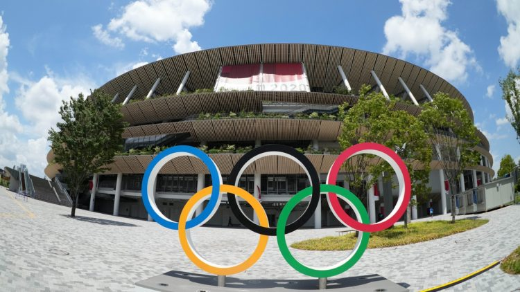 Jul 29, 2021; Tokyo, Japan; A general overall view of the Olympic rings outside of New National Stadium, the venue for track and field and opening and closing ceremonies during the Tokyo 2020 Olympic Summer Games. Mandatory Credit: Kirby Lee-USA TODAY Sports