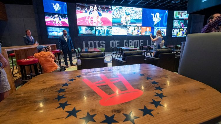Watch multiple sports at the same time on a 9-foot tall and 32-foot wide television screen.  080421 Pmk Hollywood Casino York