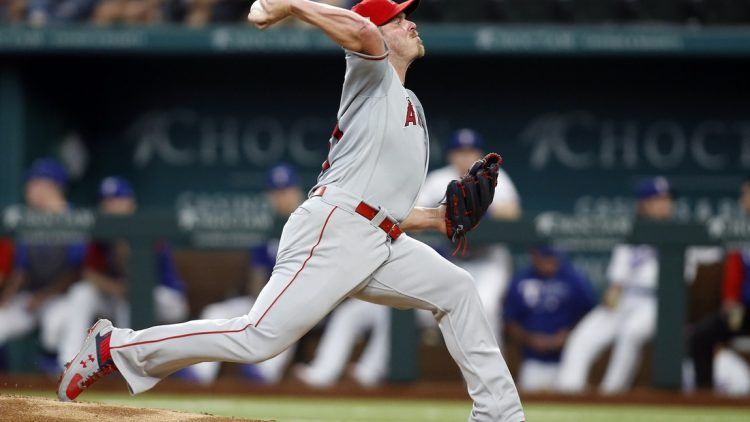Aug 5, 2021; Arlington, Texas, USA; Los Angeles Angels starting pitcher Dylan Bundy (37) pitches in the first inning against the Texas Rangers at Globe Life Field. Mandatory Credit: Tim Heitman-USA TODAY Sports