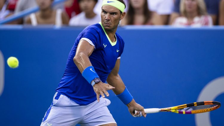 Aug 5, 2021; Washington, DC, USA; Rafael Nadal of Spain in action against Lloyd Harris of South Africa (not pictured) during the Citi Open at Rock Creek Park Tennis Center. Mandatory Credit: Scott Taetsch-USA TODAY Sports