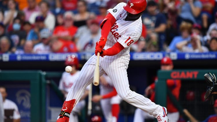 Aug 6, 2021; Philadelphia, Pennsylvania, USA; Philadelphia Phillies shortstop Didi Gregorius (18) hits a solo home run in the second inning against the New York Mets at Citizens Bank Park. Mandatory Credit: Kyle Ross-USA TODAY Sports