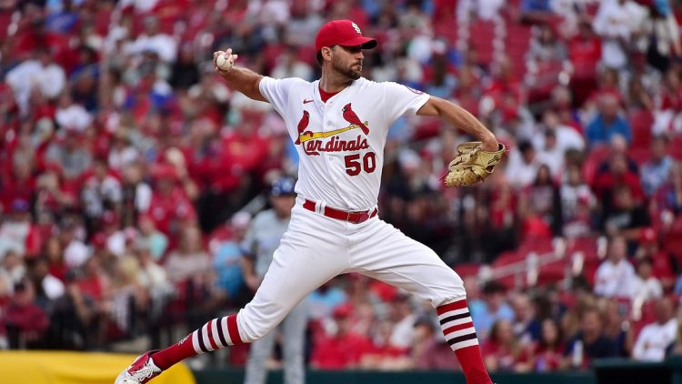 Aug 6, 2021; St. Louis, Missouri, USA;  St. Louis Cardinals starting pitcher Adam Wainwright (50) pitches during the first inning against the Kansas City Royals at Busch Stadium. Mandatory Credit: Jeff Curry-USA TODAY Sports