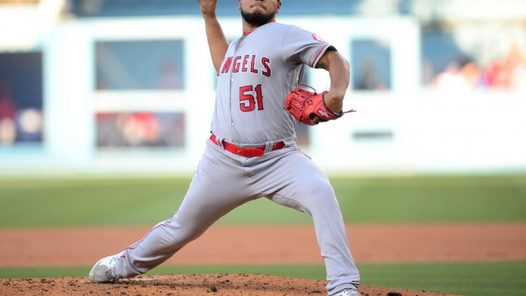Aug 7, 2021; Los Angeles, California, USA; Los Angeles Angels starting pitcher Jaime Barria (51) throws against the Los Angeles Dodgers during the second inning at Dodger Stadium. Mandatory Credit: Gary A. Vasquez-USA TODAY Sports
