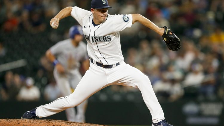 Aug 10, 2021; Seattle, Washington, USA; Seattle Mariners relief pitcher Paul Sewald (37) throws against the Texas Rangers during the ninth inning at T-Mobile Park. Mandatory Credit: Joe Nicholson-USA TODAY Sports