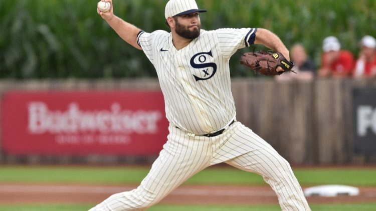 Aug 12, 2021; Dyersville, Iowa, USA; Chicago White Sox starting pitcher Lance Lynn (33) throws against the New York Yankees during the first inning at Field of Dreams. Mandatory Credit: Jeffrey Becker-USA TODAY Sports
