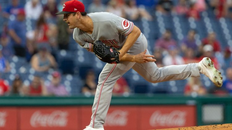 Aug 13, 2021; Philadelphia, Pennsylvania, USA; Cincinnati Reds starting pitcher Tyler Mahle (30) throws a pitch against the Philadelphia Phillies during the first inning at Citizens Bank Park. Mandatory Credit: Bill Streicher-USA TODAY Sports