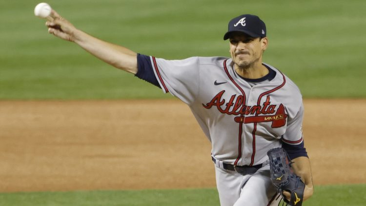 Aug 13, 2021; Washington, District of Columbia, USA; Atlanta Braves starting pitcher Charlie Morton (50) pitches against the Washington Nationals in the first inning at Nationals Park. Mandatory Credit: Geoff Burke-USA TODAY Sports
