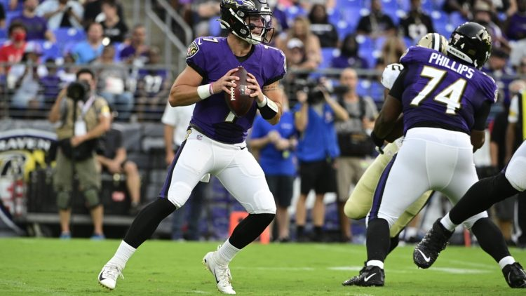 Aug 14, 2021; Baltimore, Maryland, USA;  Baltimore Ravens quarterback Trace McSorley (7) looks to pass during the first quarter against the New Orleans Saints at M&T Bank Stadium. Mandatory Credit: Tommy Gilligan-USA TODAY Sports