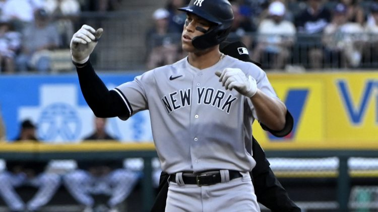 Aug 14, 2021; Chicago, Illinois, USA;  New York Yankees right fielder Aaron Judge (99) after hitting an RBI double during the third inning against the Chicago White Sox at Guaranteed Rate Field. Mandatory Credit: Matt Marton-USA TODAY Sports