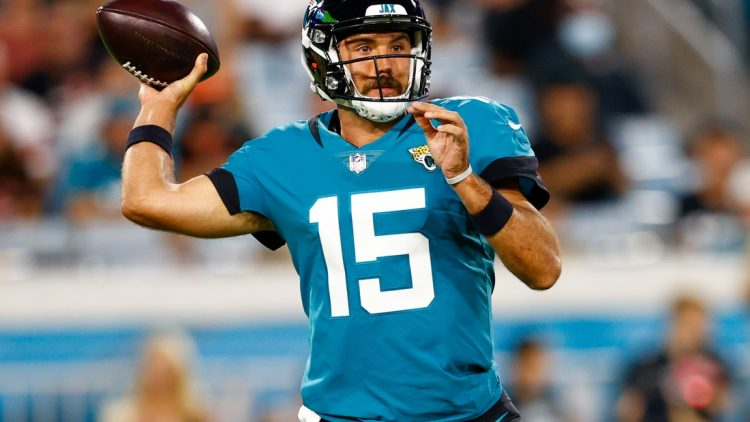 Aug 14, 2021; Jacksonville, Florida, USA;  Jacksonville Jaguars quarterback Gardner Minshew (15) throws a pass against the Cleveland Browns in the second quarter at TIAA Bank Field. Mandatory Credit: Nathan Ray Seebeck-USA TODAY Sports