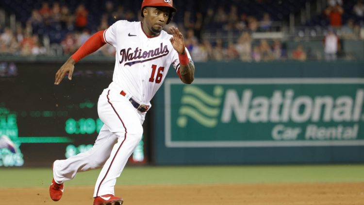 Aug 17, 2021; Washington, District of Columbia, USA; Washington Nationals center fielder Victor Robles (16) rounds third base en route to scoring a run on a two RBI double by Nationals shortstop Alcides Escobar (not pictured) against the Toronto Blue Jays in the third inning at Nationals Park. Mandatory Credit: Geoff Burke-USA TODAY Sports