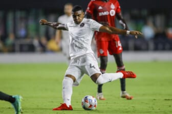 Aug 21, 2021; Fort Lauderdale, FL, Fort Lauderdale, FL, USA; Inter Miami CF defender Christian Makoun (4) attempts a shot during the first half of the game against Toronto FC at DRV PNK Stadium. Mandatory Credit: Sam Navarro-USA TODAY Sports