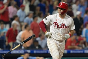 Aug 25, 2021; Philadelphia, Pennsylvania, USA; Philadelphia Phillies first baseman Rhys Hoskins (17) runs the bases after hitting a home run against the Tampa Bay Rays during the eighth inning at Citizens Bank Park. Mandatory Credit: Bill Streicher-USA TODAY Sports