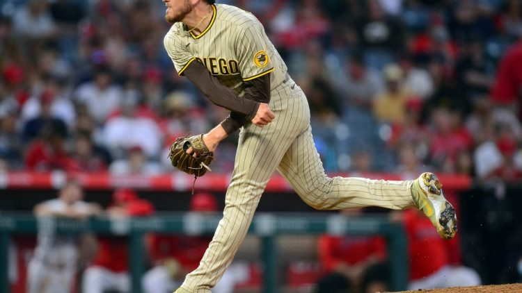 Aug 27, 2021; Anaheim, California, USA; San Diego Padres starting pitcher Joe Musgrove (44) throws against the Los Angeles Angels during the second inning at Angel Stadium. Mandatory Credit: Gary A. Vasquez-USA TODAY Sports