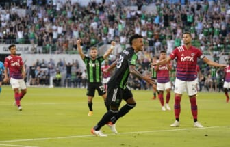 Aug 29, 2021; Austin, TX, USA; Austin FC defender Julio Cascante (18) reacts after scoring goal in first half against FC Dallas at Q2 Stadium. Mandatory Credit: Scott Wachter-USA TODAY Sports