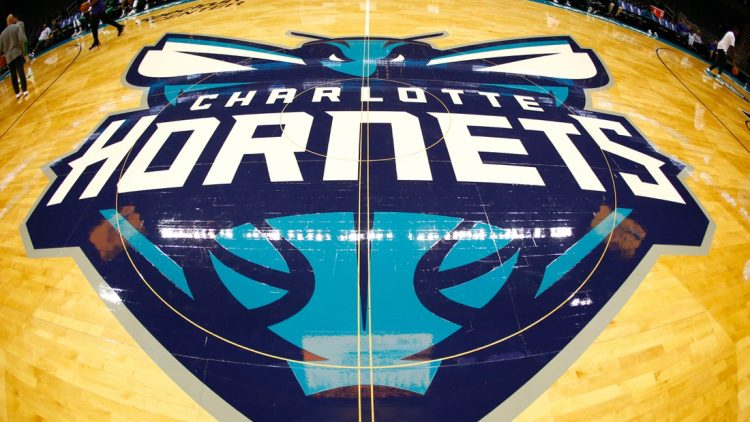 Oct 11, 2017; Charlotte, NC, USA; A view of the Charlotte Hornets logo at half court prior to the game against the Boston Celtics at Spectrum Center. Mandatory Credit: Jeremy Brevard-USA TODAY Sports