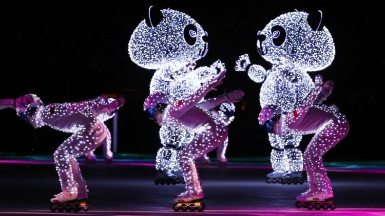 Feb 25, 2018; PyeongChang, South Korea; Performers for Beijing 2022 during the closing ceremony for the Pyeongchang 2018 Olympic Winter Games at Pyeongchang Olympic Stadium. Mandatory Credit: Rob Schumacher-USA TODAY Sports