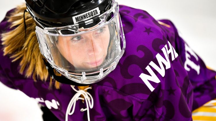 Allie Thunstrom gets into position to compete in the fastest skater competition during the 2019 NWHL All-Star Weekend Skills Competition at Ford Ice Center in Antioch, Tenn., Saturday, Feb. 9, 2019.  20190209 Nwhlskills 009