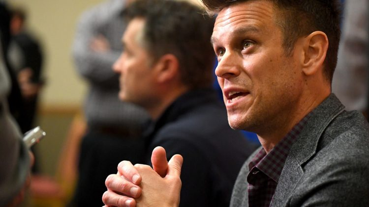 Feb 19, 2019; Glendale, AZ, USA; Seattle Mariners general manager Jerry Dipoto answers questions from the media during spring training media day at the Glendale Civic Center. Mandatory Credit: Jayne Kamin-Oncea-USA TODAY Sports