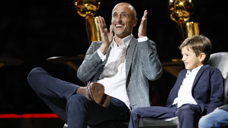Mar 28, 2019; San Antonio, TX, USA; San Antonio Spurs former player Manu Ginobili reacts during his jersey retirement ceremony at AT&T Center after a game between the Cleveland Cavaliers and San Antonio Spurs. Mandatory Credit: Soobum Im-USA TODAY Sports